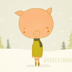Sad Pig - Holiday Card