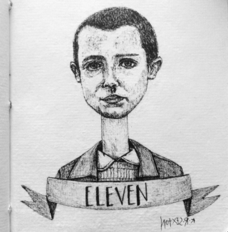 Eleven from Stranger Things, Pen and Ink, before scanning.