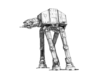 Star Wars AT-AT Walker Fan Art. Pen and Ink.