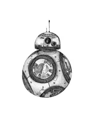 Star Wars BB8 Fan Art. Pen and Ink.