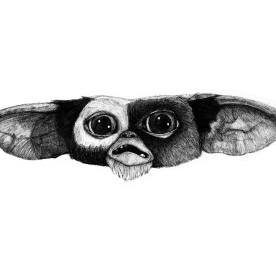 Gizmo (Gremlins) Fan Art. Pen and Ink.