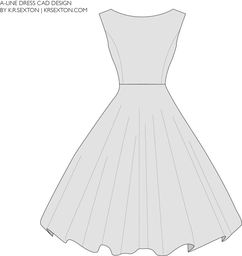 A line dress CAD